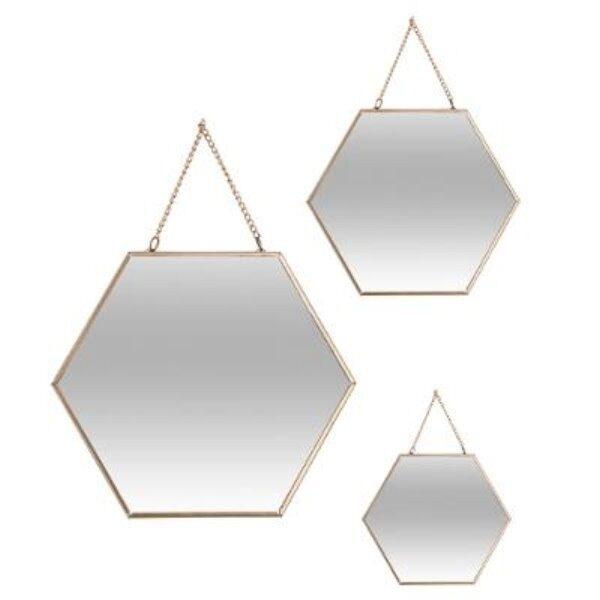 Miroir hexa met chaine or x3