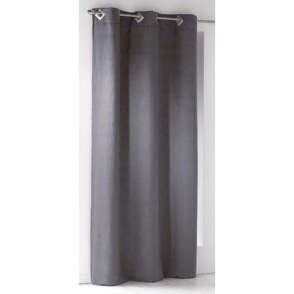 CURTAIN WITH SQUARES EYELETSSUEDINE CHARCOAL GREY - 140 X 240 CM