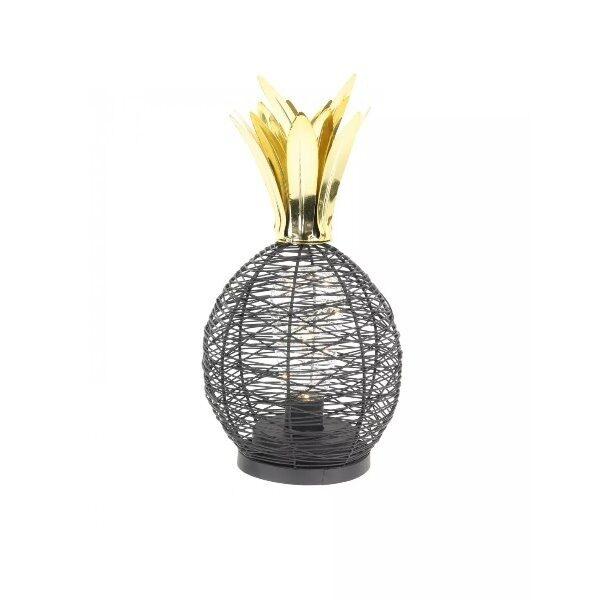 Lampe a poser ananas led 15cm m6 noir-dore  - CDISTR
